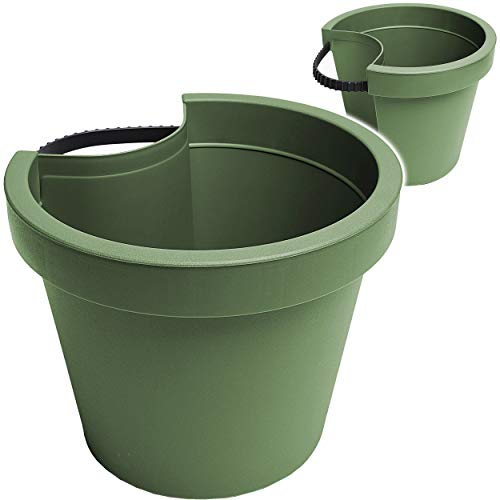 alles-meine.de GmbH 3 Stück _ Rohr & Stangen - Blumenkästen -  dunkelgrün / Oliv grün grau  - RUND - 24 cm - Regenrohr / Fallrohr - Geländer / Zaun - Blumentöpfe / Pflanzkübel ..