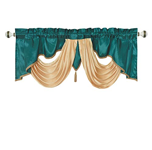 Valarie Fancy Window Valance. 54 x 18 inches. Taffeta Fabric with Soft Satin Swag. Add Some Royal luxruy Accent to Your Home. (Teal)