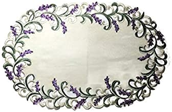 Doily Boutique Place Mat or Doily with Purple Lavender Lilac Flowers on Antique White Fabric, Size 17 x 11 inches