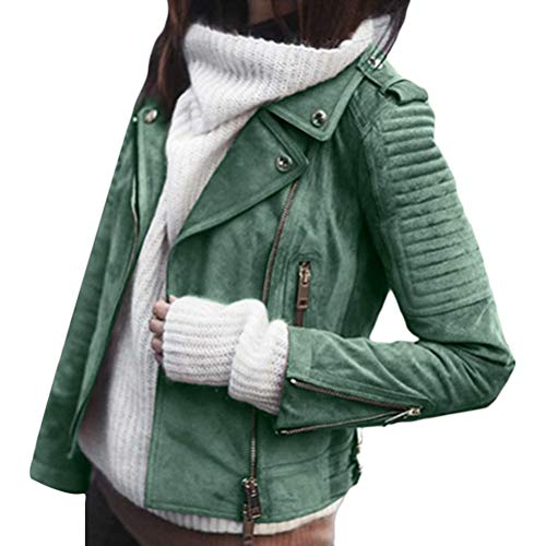 ORANDESIGNE Giacca Corta da Donna in Pelle PU Giacca PU Biker Giacca per l'autunno e l'inverno Biker Motocicletta Giacchetto Verde XXL