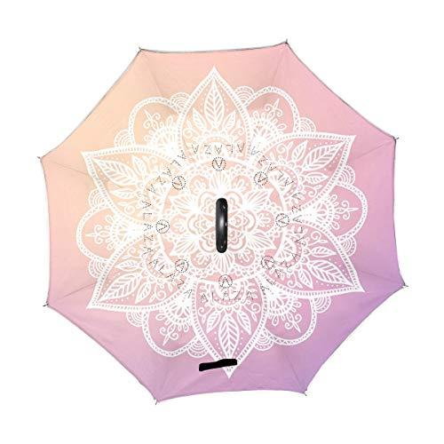 Rode paraplu, vintage, mandala, boenème, Indisch, Lotus, omgekeerd, omgekeerd, regen, zon, voor auto, gebruik buitenshuis met greep in C-vorm.