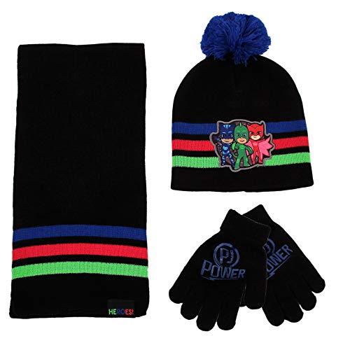 PJ Masks Scarf, Hat Mitten Set for Toddler and Little Boys, Blue/Black Gloves-Age 5-7, Age 2-7