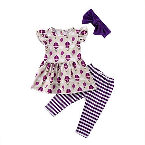 Peuter Baby Meisjes Kleding Outfit Hot Air Balloon Print Ruche Mouwloos Jurk Top Streep Broek Hoofdband;3 Stks Zomer.
