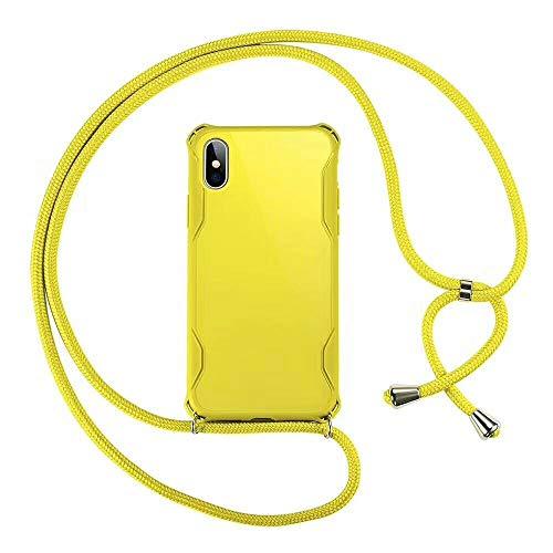 """SevenPanda Umhängetasche für iPhone 6S 4.7"""", Bunt Vier Ecken Stoßdämpfungs Hybrid TPU Stoßfänger Handyhülle Halter mit Umhängeband - Gelb"""