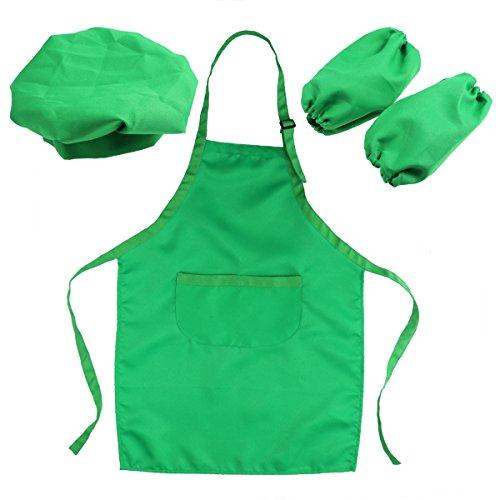 OUNONA Juego de chef para niños Kids Delantal Sombrero y manga de cocina Juego de chef para niños para cocinar pintura o decoración para hornear (verde)