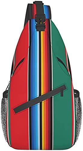 Modische Umhängetasche, geeignet für den täglichen Gebrauch, Reisen, Sport, Outdoor, Reiten, Wandern, mexikanische Teppich-Streifen, die Kunst Brust Crossbody-Tasche