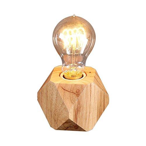 Desinger Eiche Hexagon Tiny Tischlampe Leselampe Schreibtischlampe Nordic Kreative Persönlichkeit Holz Schlafzimmer Nachttischlampe Massivholz Original Schreibtisch Studie Lampe