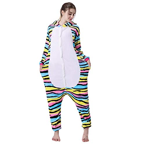 FZC-YM Mono de Gato arcoíris Adultos niños Onesies con Capucha Cosplay Pijamas de Animales Disfraz Halloween Carnaval Ropa de Dormir Mono