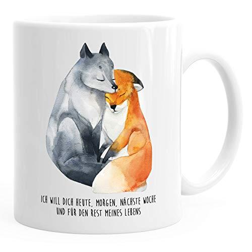 Kaffee-Tasse Ich will dich heute morgen nächste Woche Fuchs Geschenk Liebe Spruch verliebt Freund Freundin MoonWorks® weiß unisize