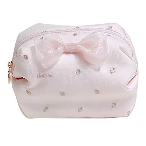 ZMHZB Sac cosmétique de Broderie de Fraise de Coeur de Petite Fille Petit Mini Portable,a