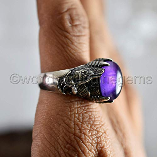 marquise new Real amethyst multistone ring pear. solid Sterling Silver
