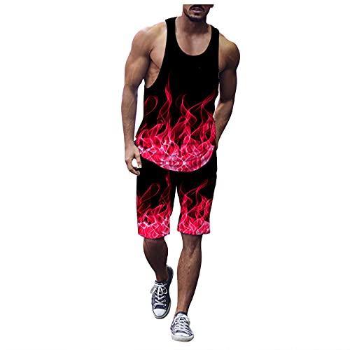 Corlidea Conjunto de camiseta de tirantes para hombre, primavera, verano, informal, ajustado, sin mangas, camiseta de fitness