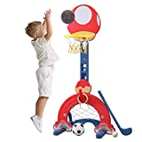 Alelife 4 in 1 Adjustable Basketball Hoop Stand with Basketball/Ring Toss/Soccer/Goal 2021 Gift US Inventory, Delivery Time 3-7 Days