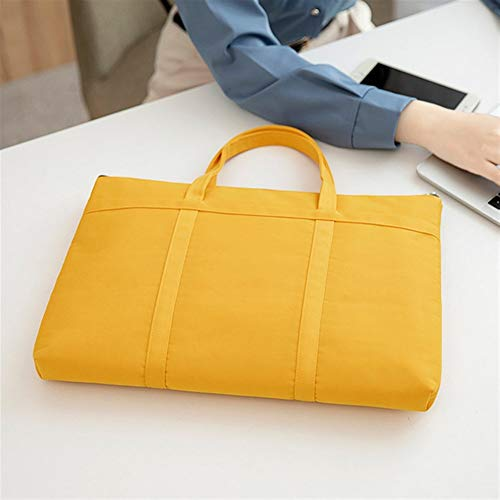A-hyt Cómoda y cómoda bolsa de maletín para portátil para mujer, tamaño A4, de 14,1 pulgadas, para ordenador portátil, oficina, para viajeros, fácil caminata (color amarillo, tamaño: 1)