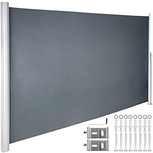 VEVOR Terrassen Windschutz 180 x 300 cm schwarz Rollo Seitenmarkise ausziehbar für den privaten oder gewerblichen Gebrauch