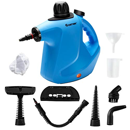 COSTWAY Handheld Pressurized Steam Cleaner, Multi-purpose Steamer with 9 Piece Accessories, Chemical Free Cleaning Kit for Kitchen, Toilets, Windows, Auto, Carpet, Sofa and More (Blue)