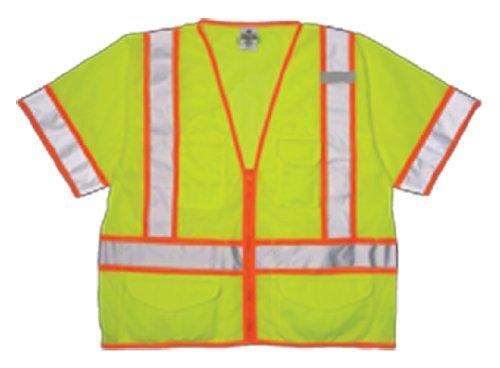 Kishigo 1242 Ultra-Cool Polyester Mesh Class 3 Surveyors Vest, Medium, Lime
