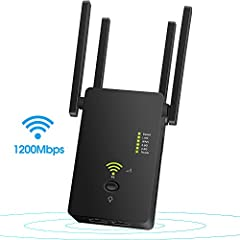 【URANT WiFi Range Extender】simultaneous AC1200 Dual band signals speed up to 900Mbps on 5GHz + 300Mbps on 2.4GHz for the ideal online gaming and streaming experience, allows all devices to connect network at the same time without interruption. 【URANT...