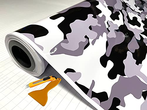 """Black White Gray Glossy Camouflage Vinyl Car Wrap Film Sheet + Free Cutter & Squeegee ( Except Sample Size) (40FT x 5FT / 480"""" x 60"""")"""