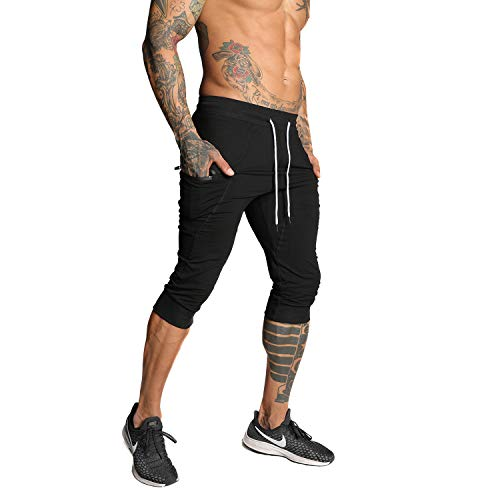 SAMZUEO Mens Casual Shorts 3/4 Jogger Pants Workout Training Jogger Capri Pants Black, Small