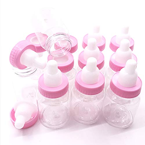 Package of 24 Bottles with Removable Pink Tops for Baby Showers, Parties, and Favors by Unknown