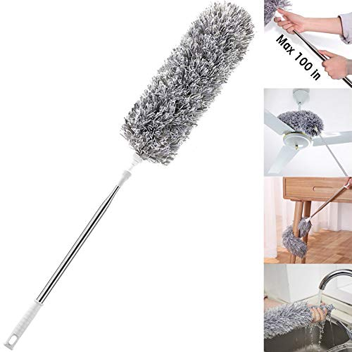 Improved Extra Long Microfiber Duster with Extension Pole (30 to 100 inches) Scratch-Resistant Cover, Bendable, Washable, Lint Free Feather Dusters for Cleaning Roof, Ceiling Fan, Blinds, Cobwebs