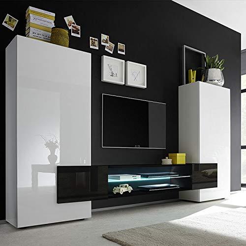 M-012 Luxor TV-Wandschrank, Weiß/Schwarz lackiert, Schwarz, Avec éclairage