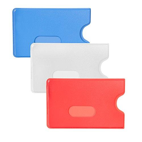 10 x Karteo® Scheckkartenhülle Kreditkartenhülle Kartenschutzhülle Ausweishülle Ausweishüllen Kartenhülle Kartenhüllen (54 x 86 mm) Kartenhalter Halter aus Plastik Hartplastik transparent für 1 eine Karte Ausweise Kreditkarten Dienstausweise EC Karte Bankkarten Gesundheitskarten weiß