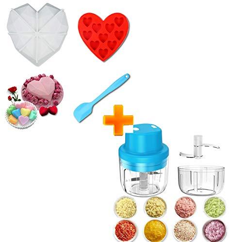 Silicone Heart Molds Diamond + Electric Mini Garlic Chopper
