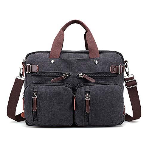Weshow klein Schultertasche Umhängtasche Handtasche Schwarz für Damen und Herren Canvas Vintage Retro mit Handyfach Grau/Braun/Khakki 38 * 18 * 27 cm