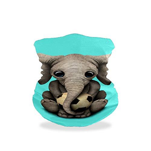BOLIMAO Lindo bebé elefante con pelota de fútbol fútbol protector máscara máscara cubre pasamontañas transpirable multifuncional, lavable, polaina para el cuello, bufanda para sol, UV, polvo, viento