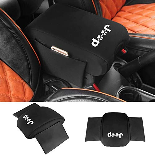 SUNPIE Neoprene Center Console Armrest Pad Cover with Storage Bag For Jeep Wrangler JK Sahara Sport Rubicon X & Unlimited 2011 2012 2013 2014 2015 2016 2017 with Dog Paw Paws Print logo