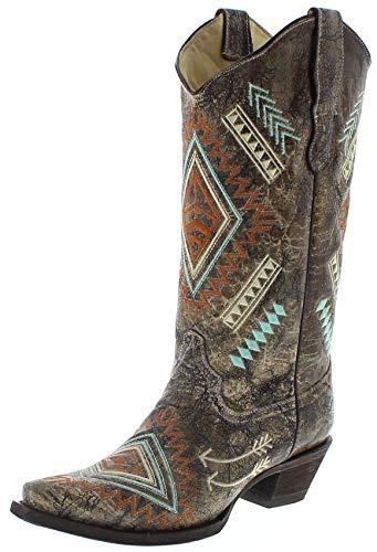 Corral Boots Damen Cowboy Stiefel E1037 Lederstiefel Westernstiefel Braun 39.5 EU
