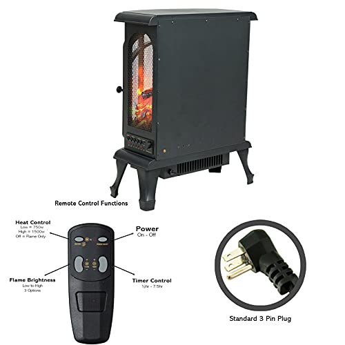 Product Image 4: Helios&Hestia 24″ Tall Electric Wood Stove Fireplace with Flame Effect, Freestanding Portable Indoor Space Heater with Remote
