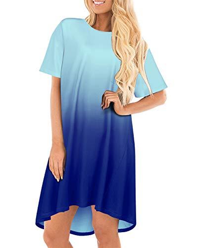 CNFIO Vestido Mujer Talla Grande Verano Cuello Redondo Manga Corta Plus Tamaño Tops Largo Moda Falda de la Camiseta Elegante