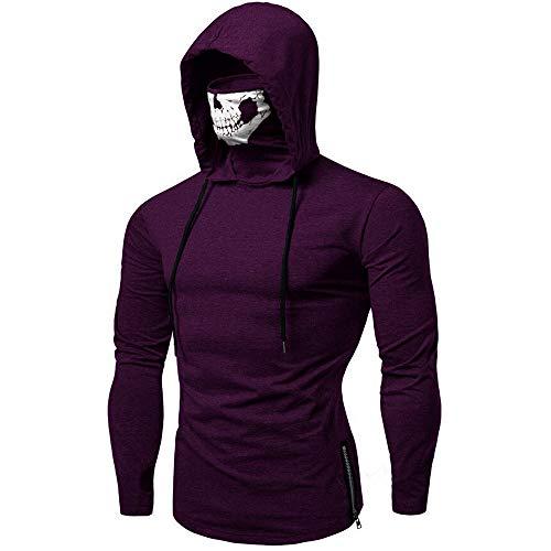 Herren Hooded Mens Mask Skull Sweatshirt Pure Color Pullover Langarm Kapuzenpulli Tops