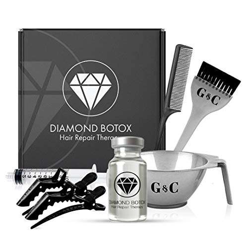 DIAMOND BOTOX- HAIR BOTOX TREATMENT, FOR DEEP HYDRATION & SPLIT END REPAIR, Reduces Frizz Instantly (4 Treatment- Application Kit) (Botox capilar para el cabello- Kit Ampolla Capilar Hidratacion)