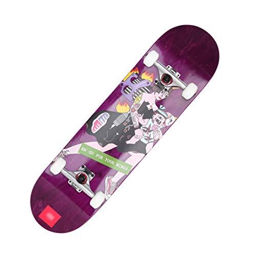 HXGL-Skateboards Pro-Short Board Beginner Complete Skateboard Long Board 31.5 Inch Koud Geperst Hele Board Double Rocker Board - Tattoo