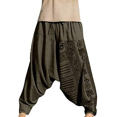 Dihope Pantalones de Estilo Hippie para Hombre, Estilo Retro, Pantalones de aladín, Pantalones Bombachos, elásticos, para Correr, Deporte, Entrenar, Yoga, Playa Verde 3XL (tamaño Fabricante 4XL)