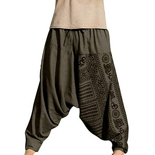 Rera Herren Sommer Haremshose Baggy Pumphose Yoga Tanz Strand Hosen Thai Pluderhose Aladin Freizeithose Lang Hippie Pants