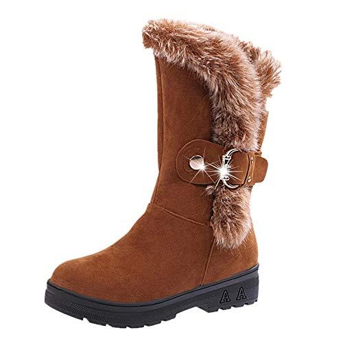 Bottes de Neige Femmes Chaussures Bottes Cuissardes d'hiver Bottes fourrées Femmes Bottes Slip-on Soft Bottes de Neige Bout Rond Plat Fourrure d'hiver Bottines GongzhuMM