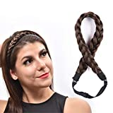 FIND BEAUTY Hair Braided Headband Plaited Hairband with Elastic Stretch, 2 Strands Synthetic Hairpiece for Women and Girls (#4A)