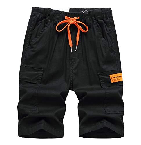 YoungSoul Jungen Kurze Hosen Kinder Cargo Shorts Sommer Freizeithose Bermudas mit Kontrastierendem Kordelzug Schwarz 2/164-170/Größe 170