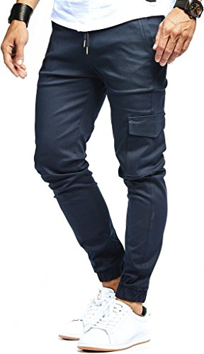 Leif Nelson Herren Jogger Chino Cargo Jeans Hose Freitzeithose LN8071; Größe M; Blau