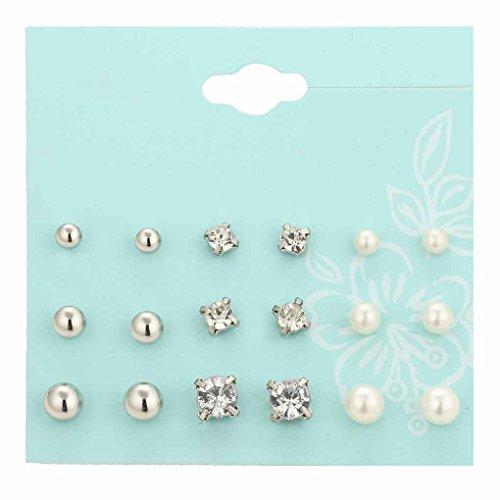 Bobury 9 Paia Donne Ragazza Perla Perline di Cristallo Orecchini Set Regalo Forma lucentezza dei monili