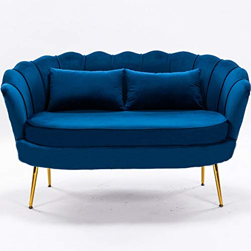 LZWZW 2 Seater Sofa Living Room Velvet Loveseat Couch with Metal Leg Armrests Sofa Chair Lounge Accent Chairs(Blue 2 seat sofa)