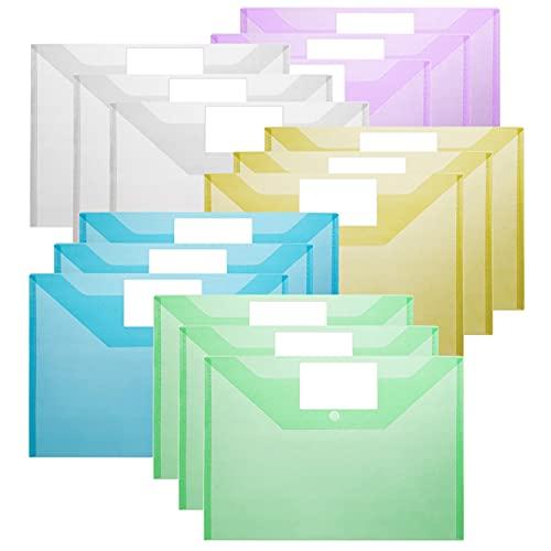Nordun 15 Piezas Carpeta para Documentos A4,Carpetas Plástico con Cierre a Presión y Etiqueta,Carpeta Sobre Broche para Documentos, Certificados, Recibos(Transparente,Amarillo, Rojo Rosa, Verde, Azul)