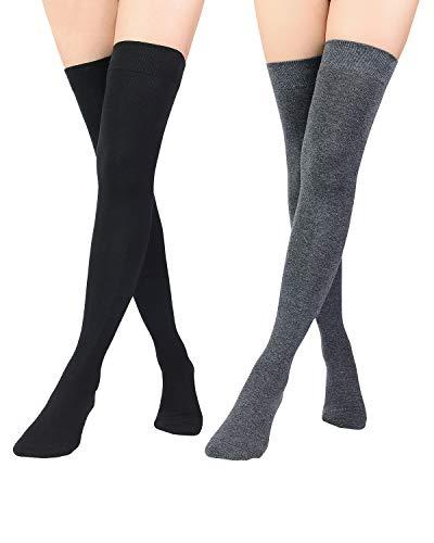 Zando Women Thigh High Socks Extra Long Thigh High Stockings Casual Over the Knee Socks Thin Stockings Long Thigh Highs Cosplay Tights Stockings Halloween Leg Warmers Black & Dark Grey One Size