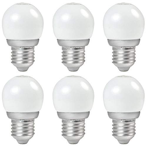 DASKOO 6-er Pack E27 3W = 20W G45 LED Globus Lampe Aluminium + Glasabdeckung Warmweiß 170LM AC 220-240V
