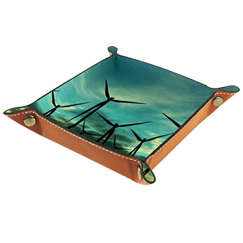 MUOOUM Wind Turbine Farm Over Sunset, Open Home Storage Bins Jewelry Tray Valet Tray Leather Catchall Tray for Home Office